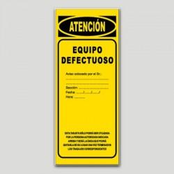 Cartel maquinaria MA15 - Equipo defectuoso