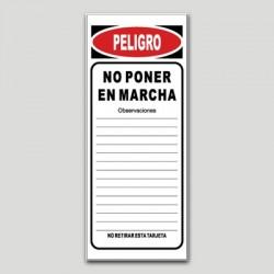Cartel maquinaria MA20 - No poner en marcha