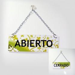 Cartel de Abierto Cerrado con dibujo de hojas