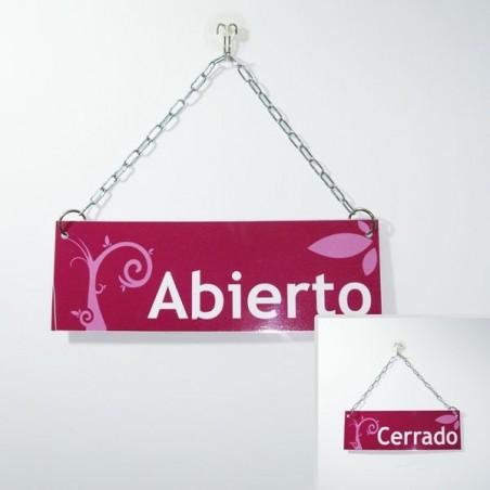 Cartel de Abierto Cerrado color lila