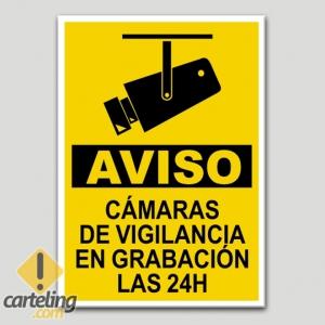 Cartel de aviso c maras de vigilancia en grabaci n las 24 - Camaras de vigilancia con grabacion ...