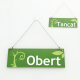 Cartel de Abierto Cerrado color verde