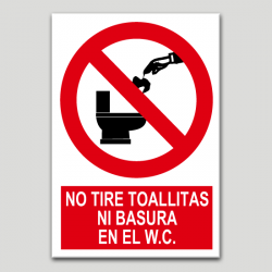 No tire toallitas ni basura en el w.c.