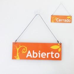 Cartell d'Obert Tancat color taronja