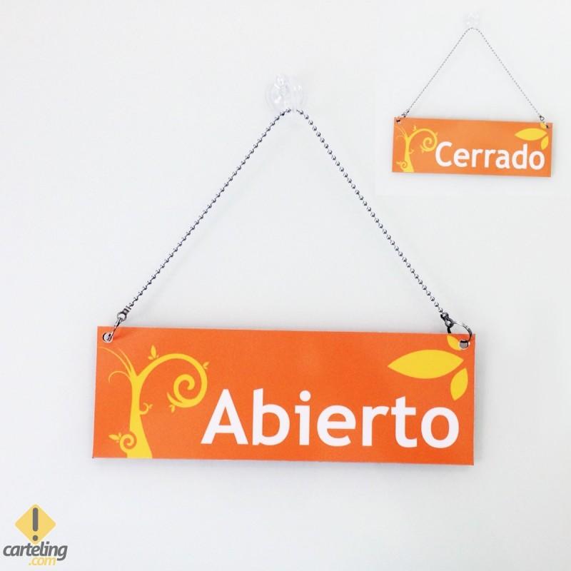 Cartel de Abierto Cerrado naranja