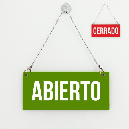 Cartel de Abierto Cerrado rojo verde
