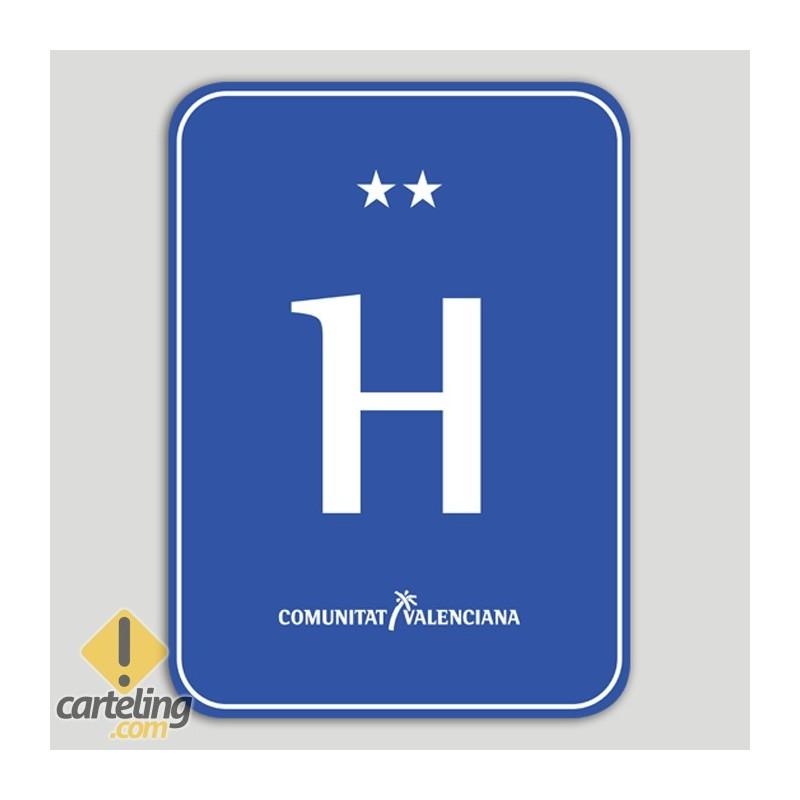 Placa distintiu hotel dos estels - Comunitat Valenciana