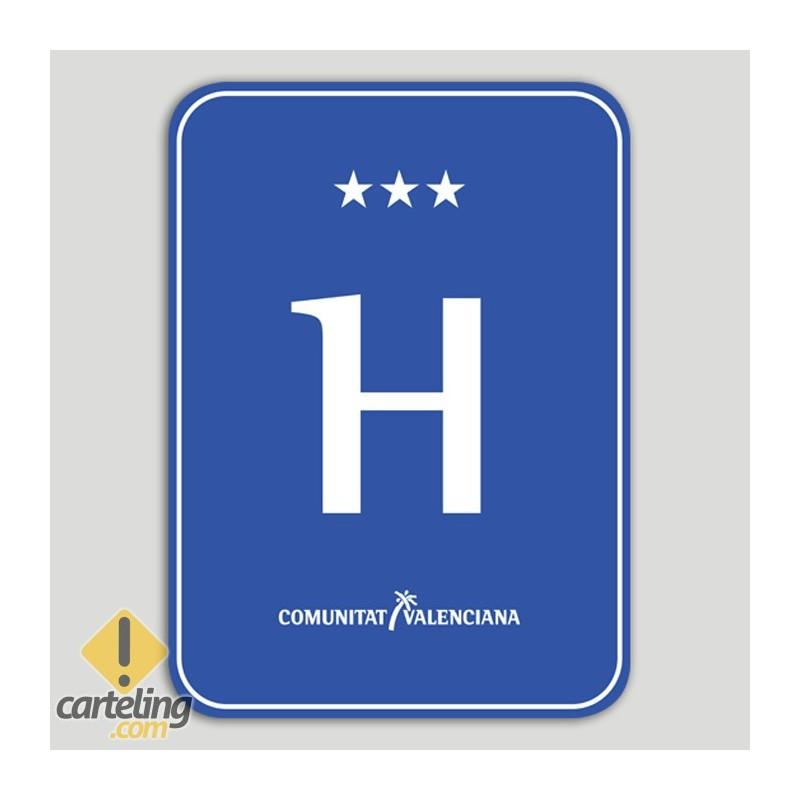 Placa distintiu hotel tres estels - Comunitat Valenciana