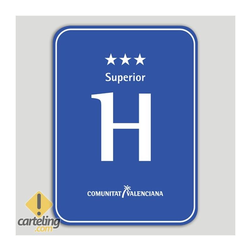 Placa distintivo hotel tres estrellas superior - Comunidad Valenciana