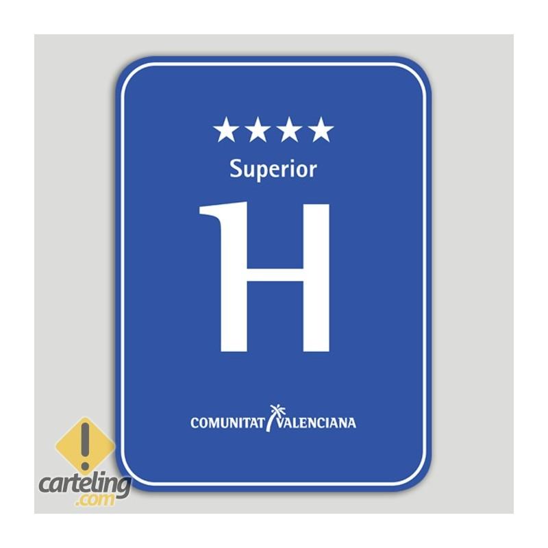 Placa distintiu hotel quatre estels superior - Comunitat Valenciana