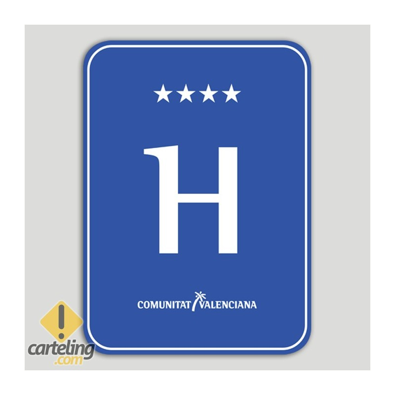 Placa distintivo hotel cuatro estrellas - Comunidad Valenciana