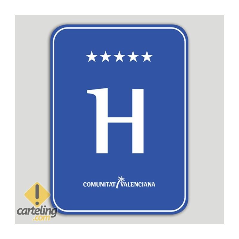 Placa distintiu hotel cin estels - Comunitat Valenciana