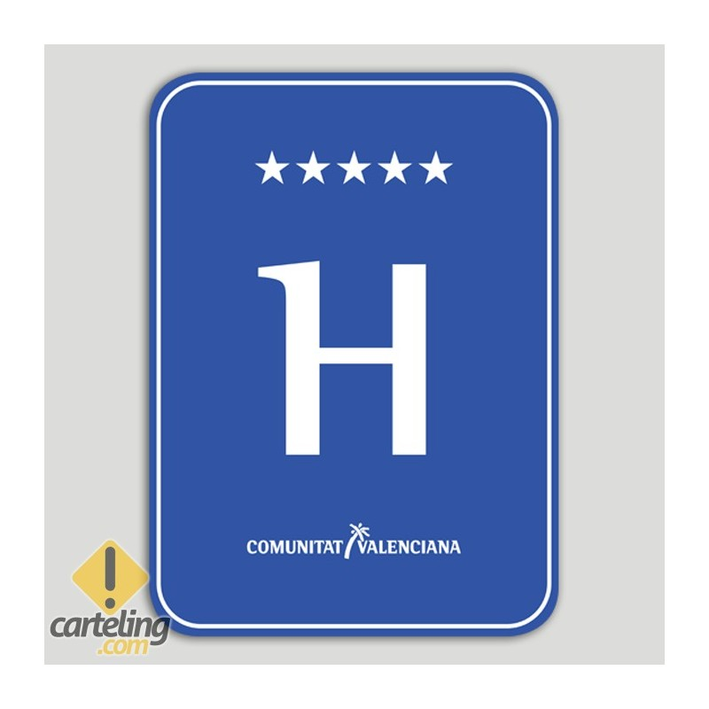 Placa distintivo hotel cinco estrellas - Comunidad Valenciana