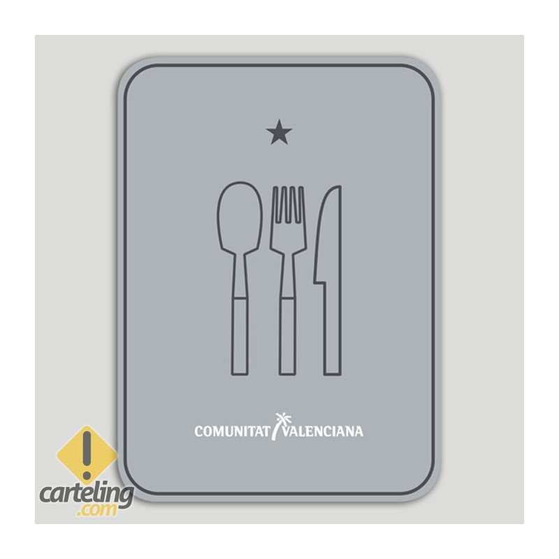 Placa distintiu Restaurant un stel - Comunitat Valenciana