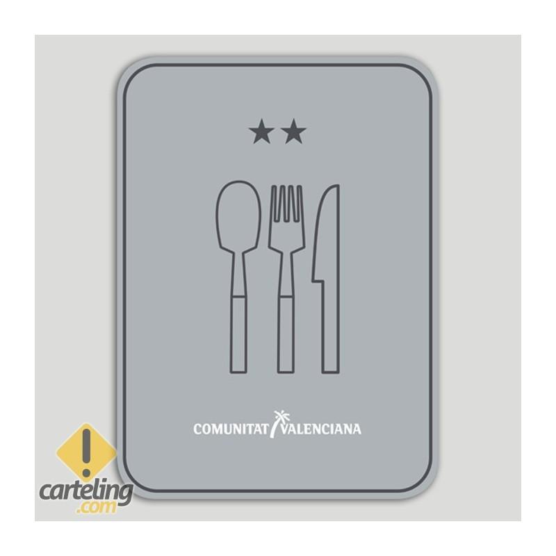 Placa distintivo Restaurante dos estrellas - Comunidad Valenciana