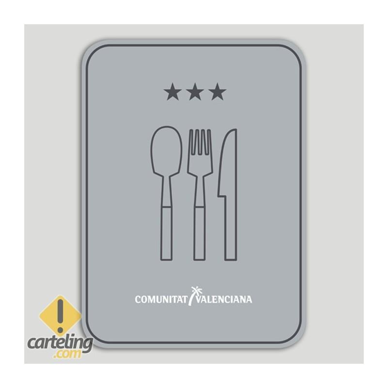 Placa distintivo Restaurante tres estrellas - Comunidad Valenciana