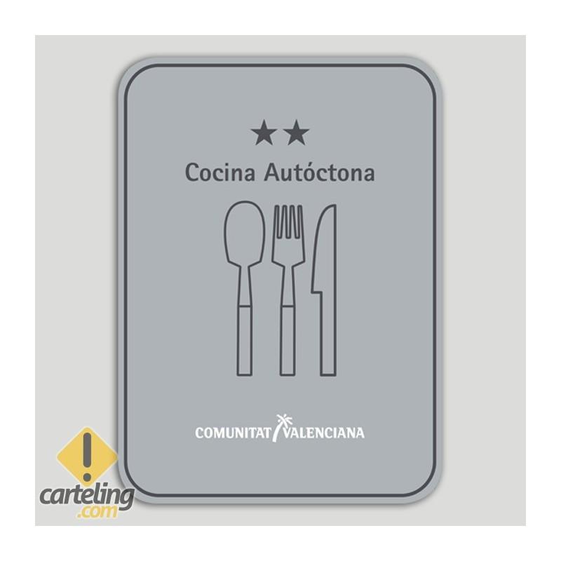 Placa distintivo Restaurante cocina autóctona dos estrellas - Comunidad Valenciana
