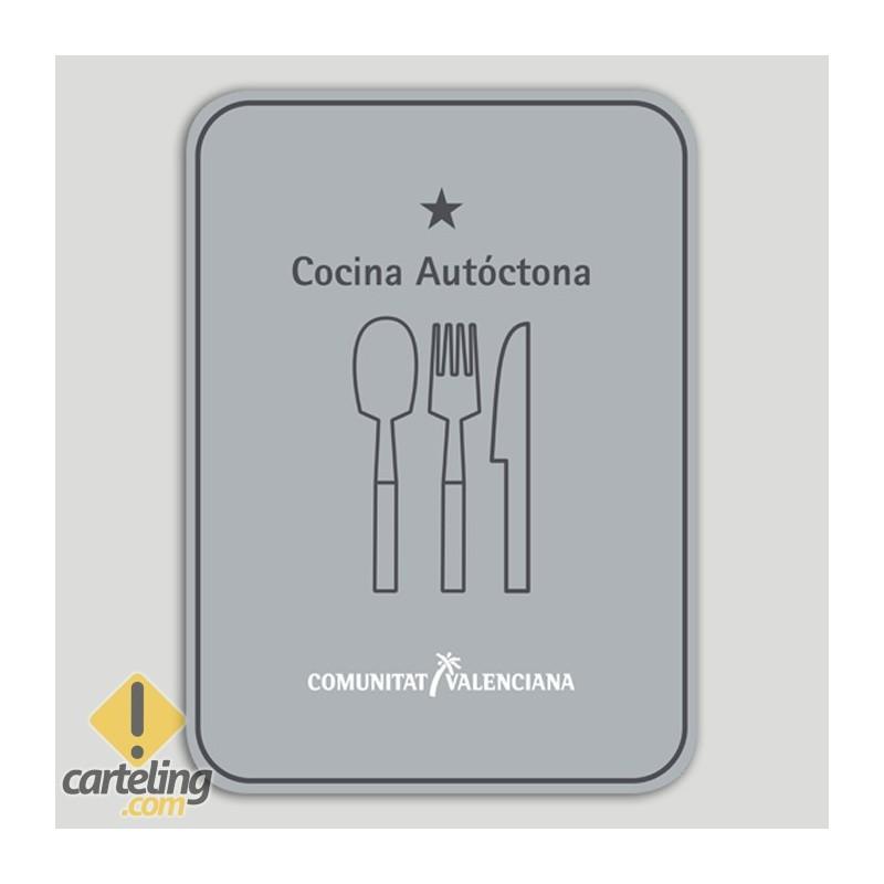 Placa distintivo Restaurante cocina autóctona una estrella - Comunidad Valenciana