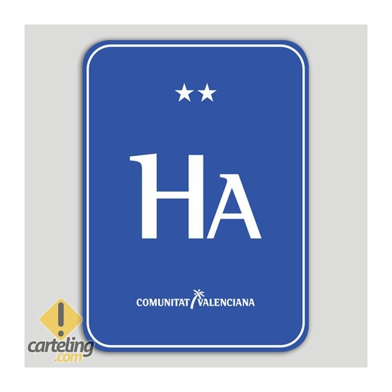 Placa distintivo Hotel apartamento dos estrellas - Comunidad Valenciana