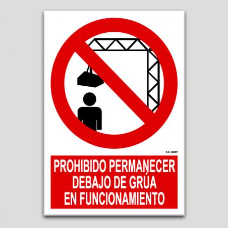 Prohibit romandre sota grua en funcionament