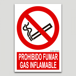 Prohibit fumar, gas inflamable