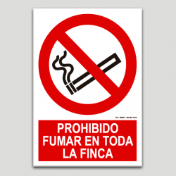 Prohibido fumar en toda la finca
