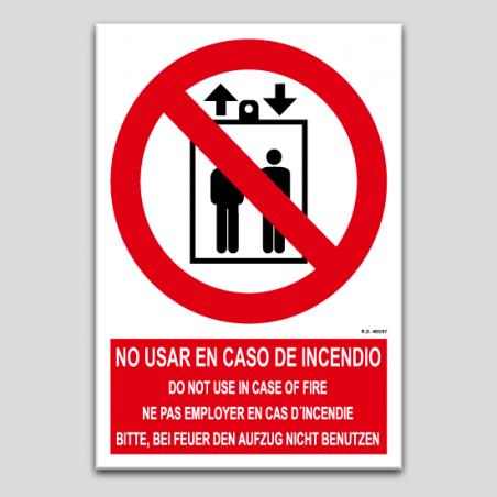 No utilizar en caso de incendio (varios idiomas)