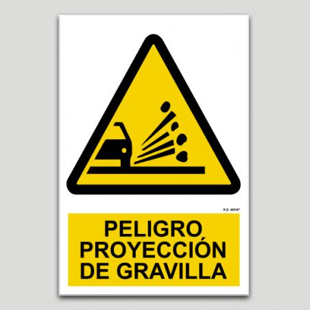 Peligro proyección de gravilla