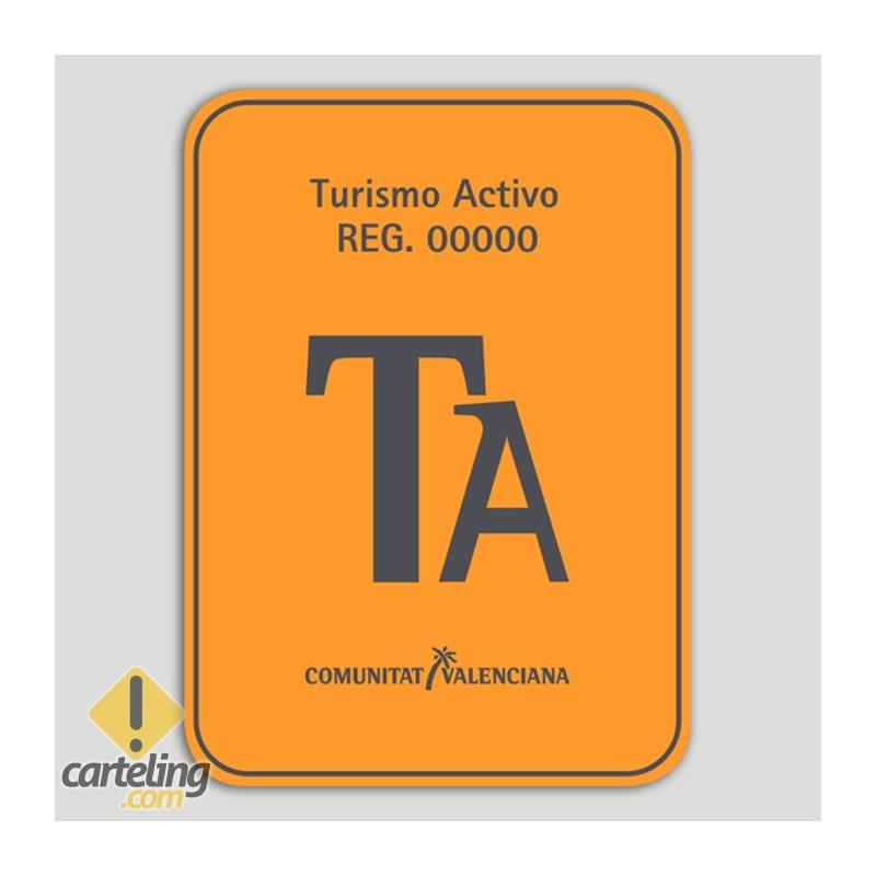 Placa distintivo Turismo Activo con número de registro - Comunidad Valenciana