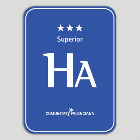 Placa distintivo Hotel apartamento tres estrellas superior - Comunidad Valenciana