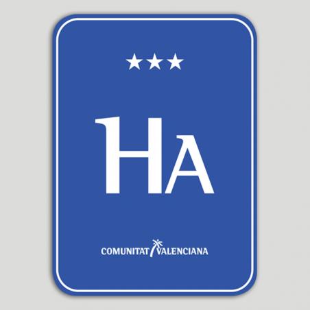 Placa distintivo Hotel apartamento tres estrellas - Comunidad Valenciana