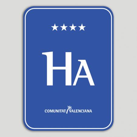 Placa distintivo Hotel apartamento cuatro estrellas superior - Comunidad Valenciana