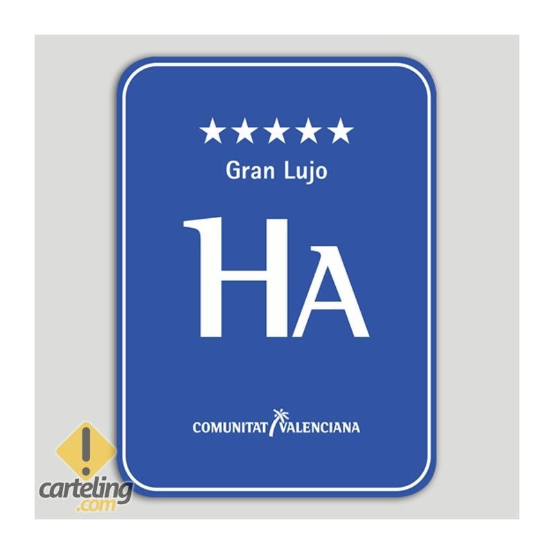 Placa distintivo Hotel apartamento cinco estrellas gran lujo - Comunidad Valenciana