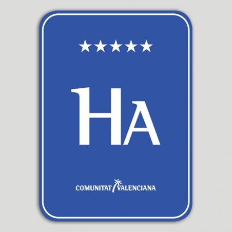 Placa distintivo Hotel apartamento cinco estrellas - Comunidad Valenciana