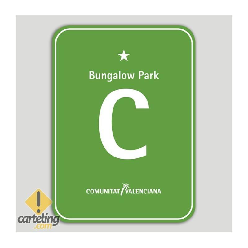 Placa distintivo Camping Bungalow Park una estrella - Comunidad Valenciana