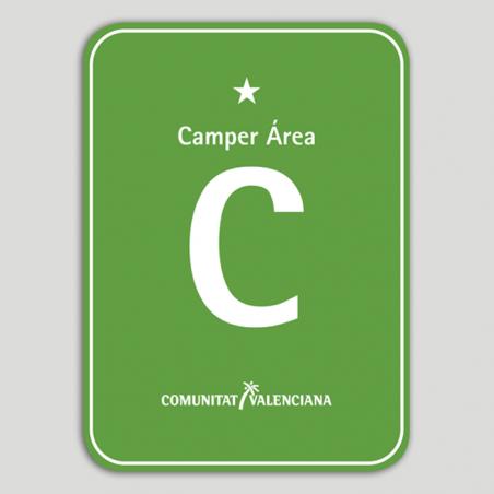 Placa distintivo Camping Camper Área una estrella - Comunidad Valenciana