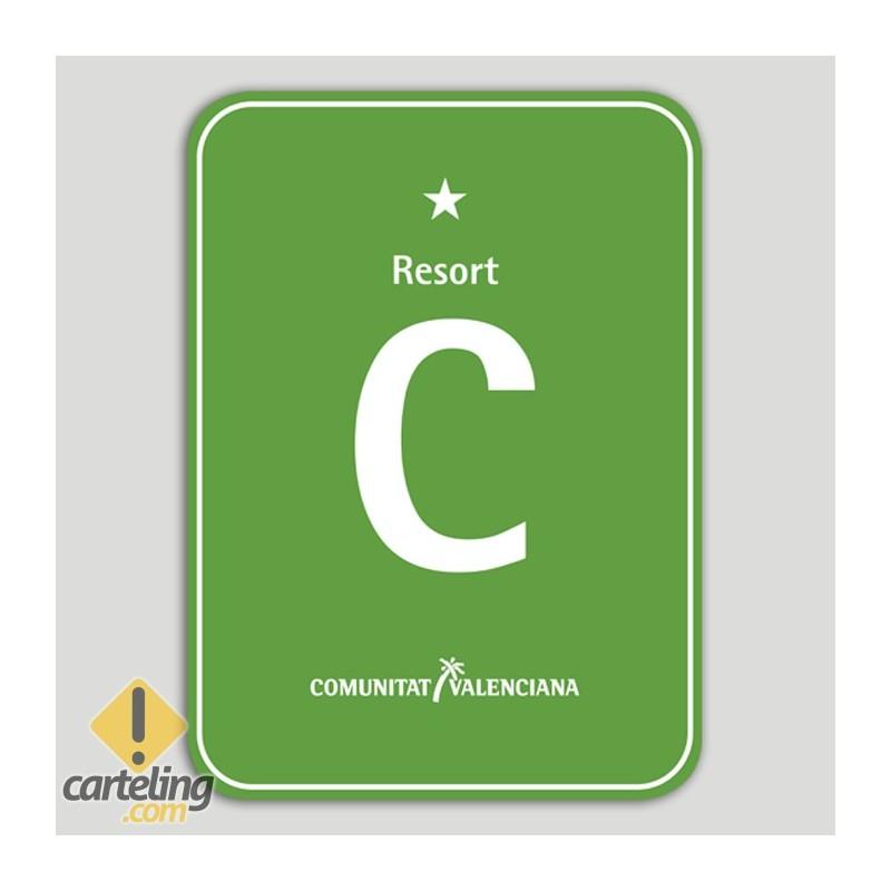 Placa distintivo Camping Resort una estrella - Comunidad Valenciana