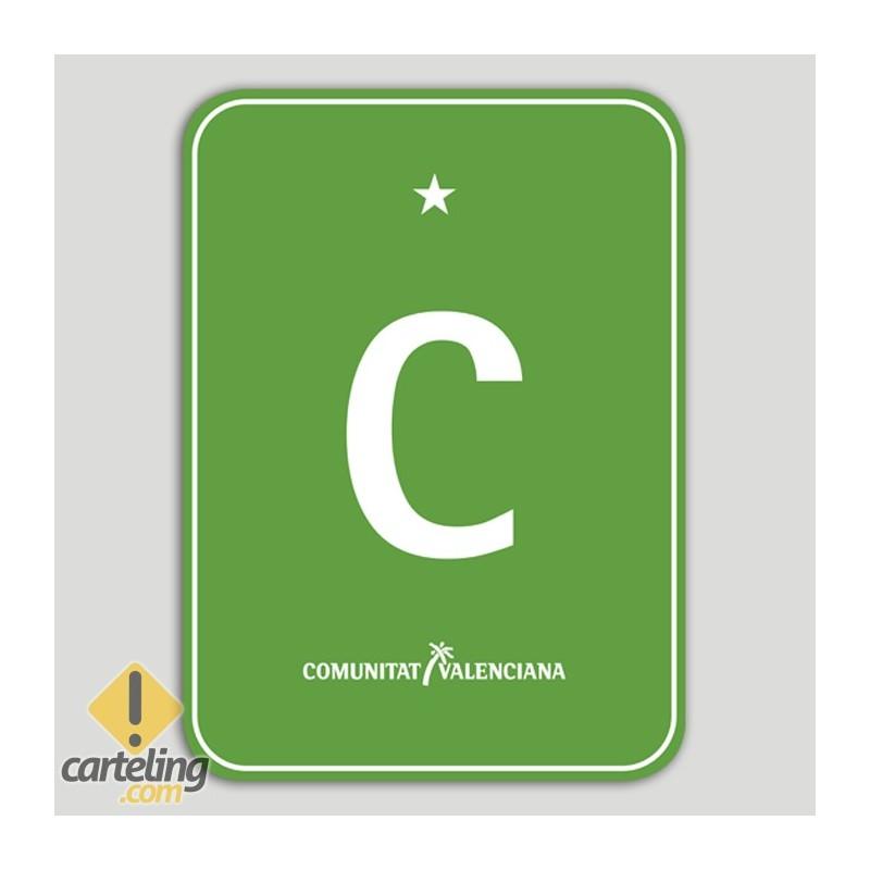 Placa distintivo Camping una estrella - Comunidad Valenciana