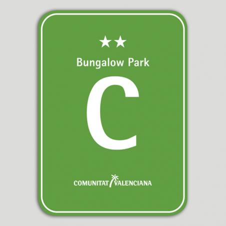 Placa distintivo Camping Bungalow Park dos estrellas - Comunidad Valenciana