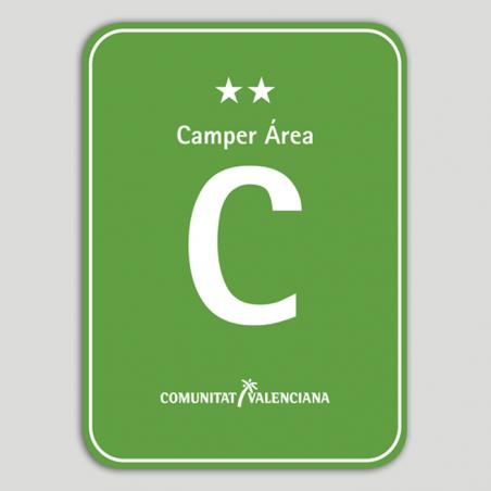 Placa distintivo Camping Camper Área dos estrellas - Comunidad Valenciana