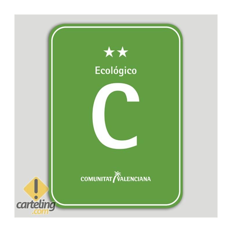 Placa distintivo Camping Ecológico dos estrellas - Comunidad Valenciana
