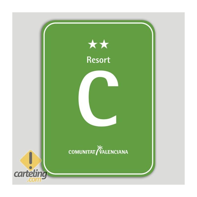 Placa distintivo Camping Resort dos estrellas - Comunidad Valenciana
