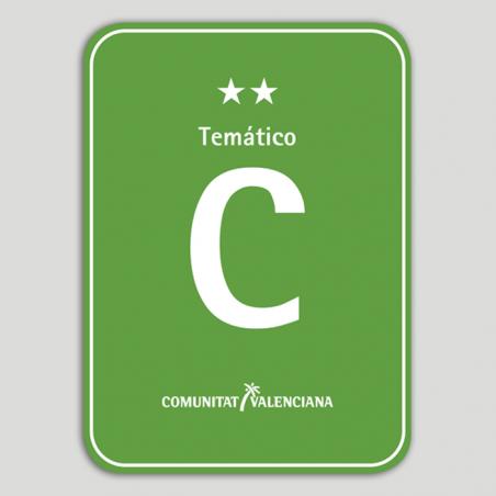 Placa distintivo Camping Temático dos estrellas - Comunidad Valenciana