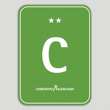 Placa distintivo Camping dos estrellas - Comunidad Valenciana