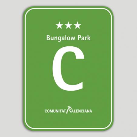 Placa distintivo Camping Bungalow Park tres estrellas - Comunidad Valenciana