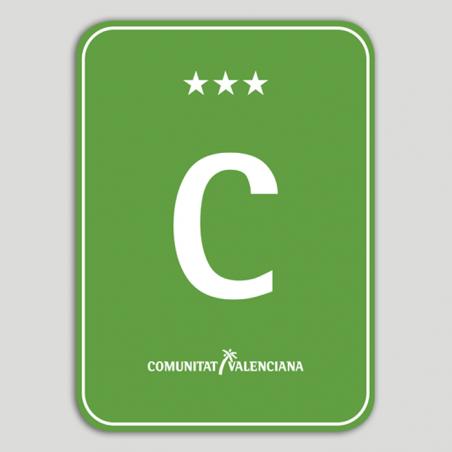 Placa distintivo Camping tres estrellas - Comunidad Valenciana