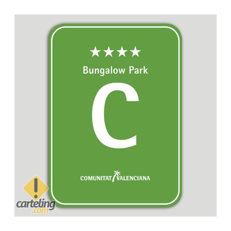 Placa distintivo Camping Bungalow Park cuatro estrellas - Comunidad Valenciana