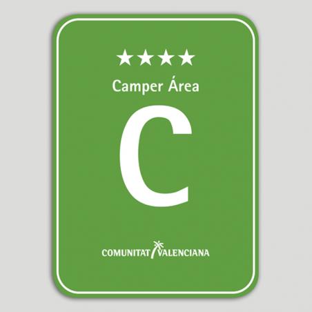 Placa distintivo Camping Camper Área cuatro estrellas - Comunidad Valenciana
