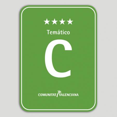 Placa distintivo Camping Temático cuatro estrellas - Comunidad Valenciana