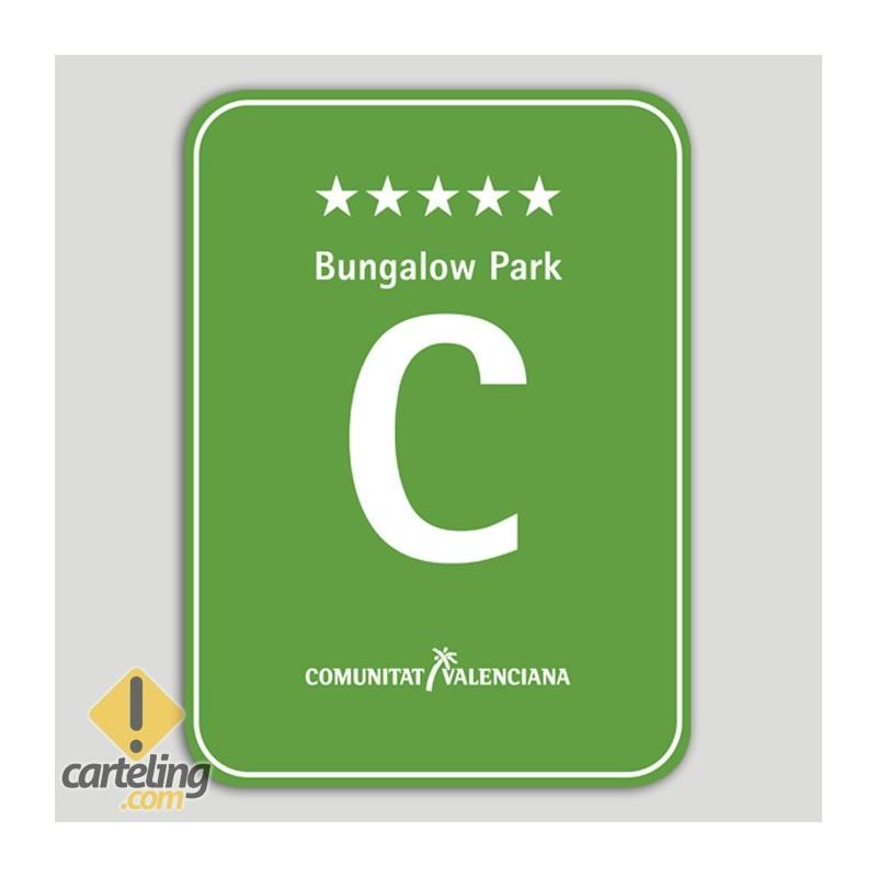 Placa distintivo Camping Bungalow Park cinco estrellas - Comunidad Valenciana